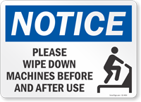 Wipe Down Machines Before And After Use Sign