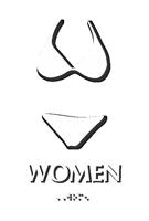 Bikini Women Braille Restroom Sign
