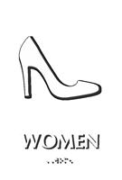 Women Heels Braille Restroom Sign