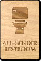 All-Gender Wooden Restroom Sign