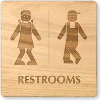Bow Legged Unisex Wooden Restroom Sign