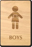 Boys Wooden Restroom Sign