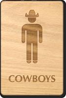 Cowboys Wooden Restroom Sign