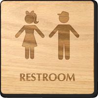 Boy And Girl Symbol Unisex Wooden Restroom Sign