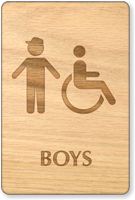 Boys And Accessible Symbol Wooden Restroom Sign