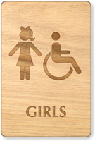Girls And Accessible Symbol Wooden Restroom Sign