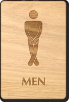 Cross Legs Men Wooden Restroom Sign