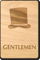 Gentlemen Hat Wooden Restroom Sign