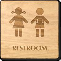 Girls And Boys Symbol Unisex Wooden Restroom Sign