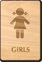 Girls Wooden Restroom Sign
