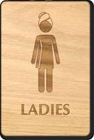 Ladies In Towel Woman Wooden Restroom Sign