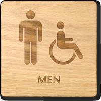 Men And Accessible Symbol Wooden Restroom Sign