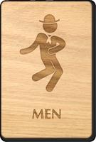 Dancing Men Wooden Restroom Sign