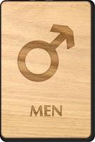 Men Mars Symbol Wooden Restroom Sign