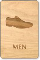 Men Shoes Symbol Wooden Restroom Sign