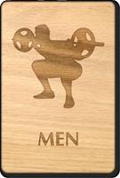 Weight-Lifting Men Wooden Restroom Sign