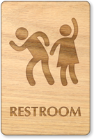 Party Men And Women Unisex Wooden Restroom Sign