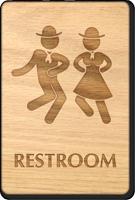 Dancing Men And Women Unisex Wooden Restroom Sign