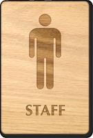 Male Staff Wooden Restroom Sign