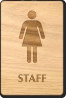 Female Staff Wooden Restroom Sign
