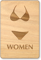 Women Bikini Symbol Wooden Restroom Sign