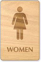 Women Wooden Restroom Sign