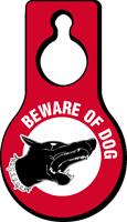 Beware Of Dog Pear Shaped Hang Tag
