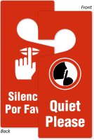 Bilingual Quiet Please 2-Sided Door Hanging Tag