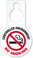 Controlled Environment No Smoking Door Hang Tag