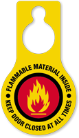 Flammable Material Keep Door Closed Hang Tag