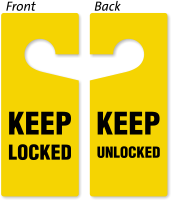 Keep Locked / Keep Unlocked 2-Sided Door Hanger