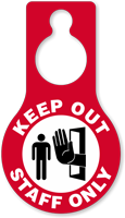 Keep Out Staff Only Door Hang Tag