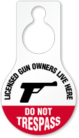 Licensed Gun Owners Dont Trespass Hang Tag