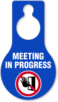 Meeting In Progress Door Hang Tag