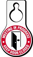 Meeting In Progress Plastic Door Hang Tag