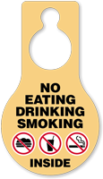 No Eating Drinking Smoking Door Hang Tag
