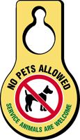 No Pets Allowed Service Animals Hang Tag