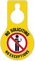 No Soliciting No Exceptions Door Hang Tag