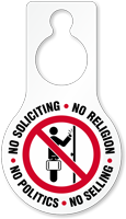 No Soliciting Religion Politics Selling Hang Tag