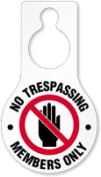 No Trespassing Members Only Door Hang Tag