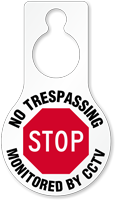 No Trespassing Monitored By CCTV Hang Tag