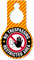 No Trespassing Restricted Area Door Hang Tag