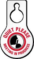 Quiet Please Meeting In Progress Door Hang Tag