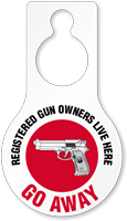 Registered Gun Owners Live Humorous Hang Tag