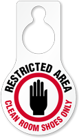 Restricted Area Clean Room Door Hang Tag