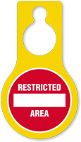 Restricted Area Plastic Door Hang Tag