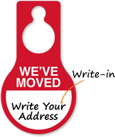 We Have Moved Write-On Address Hang Tag