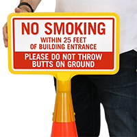 No Smoking Within 25 Feet ConeBoss Sign