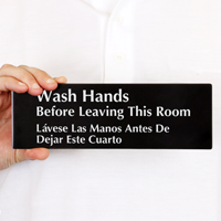 Bilingual Wash Hands Before Leaving Sign