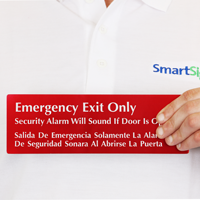Emergency Exit Security Alarm Bilingual Sign